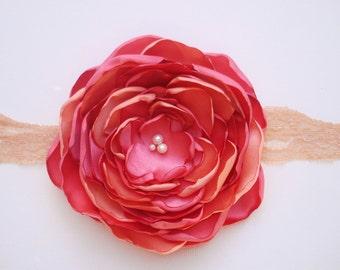Big Coral/Peach Flower Baby Headband