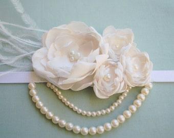 Ivory/Cream Feather Flower Girl Headband/ Baby Headband/1920s Style Headband