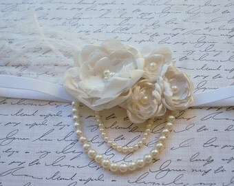1920s Style Ivory/Cream Flower Headband/Baby Headband/Photo Prop/ Flower Girl Headband