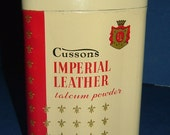 1970's Cussons Imperial Leather Talcum Powder Tin & Contents Made in England
