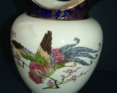 Antique Art Nouveau 1906 Floral and Exotic Bird Pattern Imperial Porcelain Vase by Wedgwood and Co Ltd