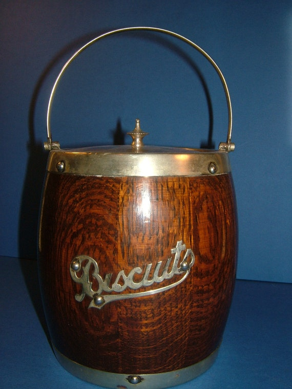 Edwardian Oak Biscuit Barrel with Ceramic Liner and EPNS Silver Plated Mounts and Finial