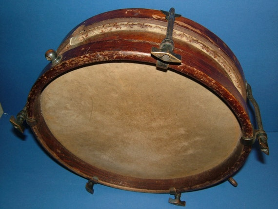 1920's The Crackerjack Drumster Magonany Framed Marching Drum with Original Skins