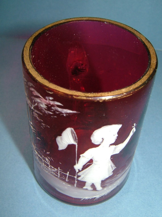 Victorian Cranberry Glass Mary Gregory Mini Tankard Young Girl Catching Butterflies