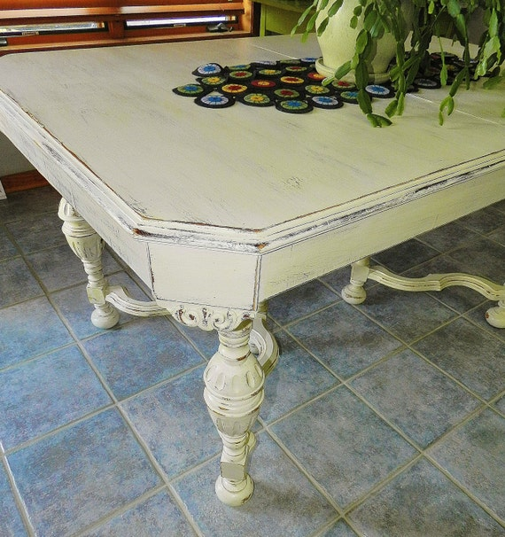 Items similar to off white distressed dining room table for Dining room tables etsy