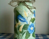 Handpainted Morning Glory Candle Jar