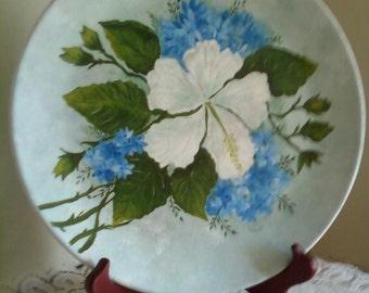 Handpainted Hibiscus Decorative Plate