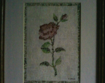 Recycled Paper Red Rose Mosaic