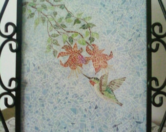 Framed Hummingbird Unique Hand Pieced Paper Mosaic
