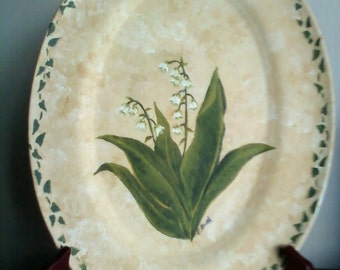 Handpainted Lily of the Valley Decorative Plate