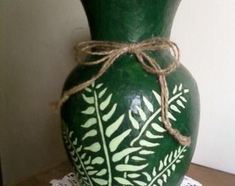 Decorative Unique Rustic Green Vase.