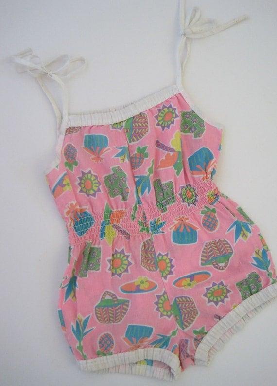 Girls Pink Printed Romper - Summer, Sunsuit, Beach
