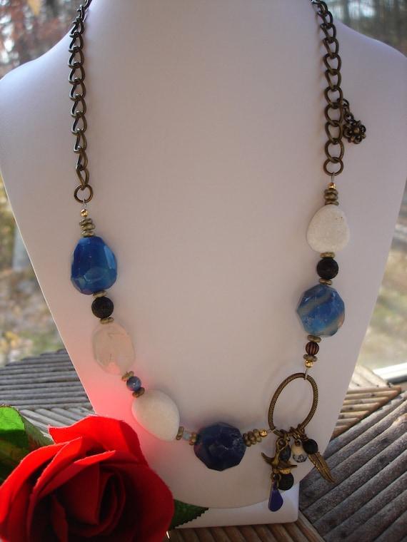 OOAK Blue Onyx and Snow Quartz Urban Chic Necklace