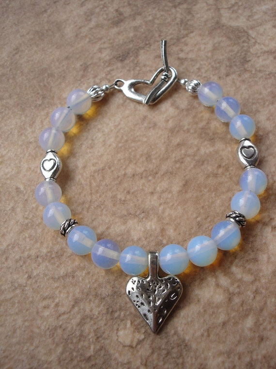 Moonstone and Hearts Toggle Bracelet