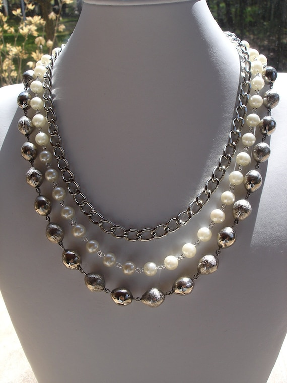 Vintage Pearl and Metal Bead Bib Style Necklace