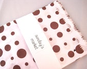 ON SALE -- 100 brown and white polka dot paper merchandise bags -- size 5 x 7
