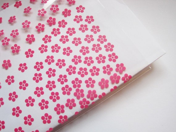100 pink blossom cello bags -- size 5x8