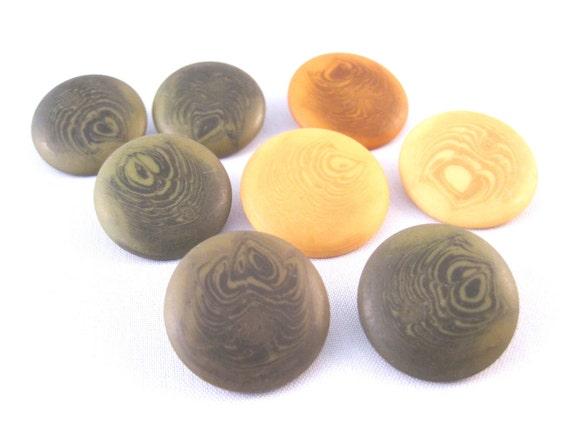 Wood grain look shank buttons olive green mustard yellow pumpkin orange  -- lot of 8