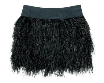 Custom Made Ostrich Feather Mini Skirt in Black