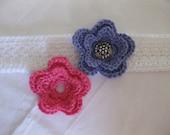 White Crochet Headband with Interchangeable Pink & Purple Flowers - photo prop - crochet