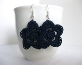 Navy Blue, Flower, Earrings, Lightweight, Crochet Jewelry, Wedding, Bridesmaid, Weddings, Spring, Easter, Mothers Day Gift, Dainty