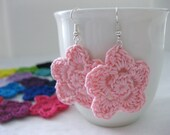 Light Pink Flower Dangle Earrings - lightweight crochet jewelry - wedding bridesmaid - accessories. Spring. Easter.