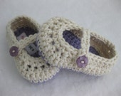 Organic Baby Girl Shoes / Slipper Purple & Cream Crochet  - YOUR CHOICE size newborn - 12 months - photo prop - crochet