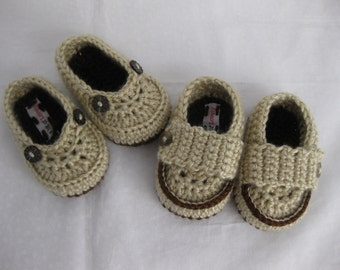 Twins, Baby Boy, Shoes, Cowboy, Newborn, Infant, Slippers, Booties, Brown, Newborn Photos, Photo Prop, Twins Gift
