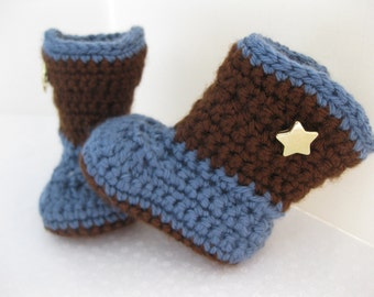 Baby Boy Boots Blue & Brown Crochet - YOUR choice size newborn - 12 months - photography prop - crochet