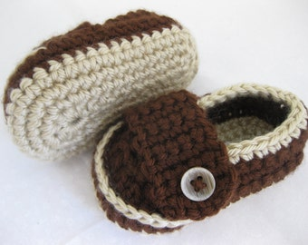 Easter Baby Boy Shoes Dark Brown Crochet - YOUR CHOICE size newborn - 12 months - photo prop - clothing