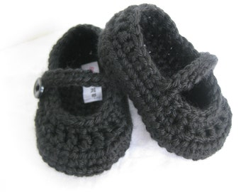 Spring. Baby Girl Booties Formal Black Crochet  - YOUR choice size newborn - 12 months - photo prop - children