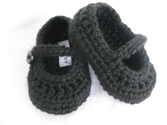 Spring. Baby Girl Booties Formal Black Crochet  - YOUR choice size newborn - 12 months - photo prop - clothing