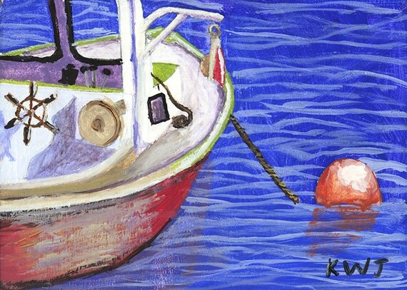 Original Lobster Boat Painting Rockport Maine Seascape Painting on Panel