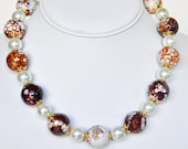 Brown Necklace Agate Handmade Jewelry in Gold Beaded Necklace White Swarovski Pearls