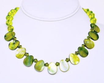 Green Shell Beaded Necklace with silver Handmade Jewelry with Swarovski Crystals