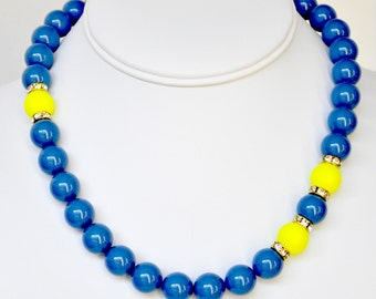 Blue Pearl Necklace and Yellow Handmade Beaded Jewelry in Silver Beaded Necklace Swarovski Pearls