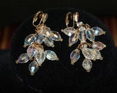 Exquisite Unsigned Vintage Crystal AB Aurora Borealis Chandelier Clip On Earrings