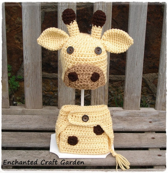 Baby Giraffe Diaper Cover and Hat set Photography Prop