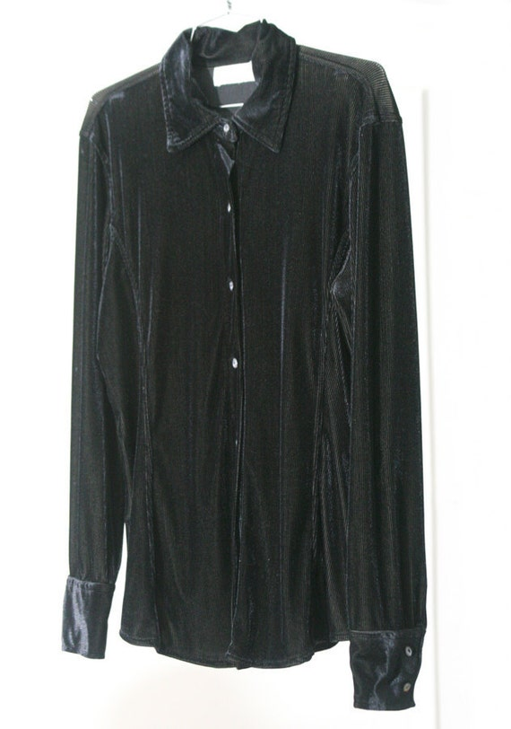 s a l e / / / Super-Stretchy and Soft Black Slinky Ribbed Express Button-Up 90s Shirt / / / s a l e