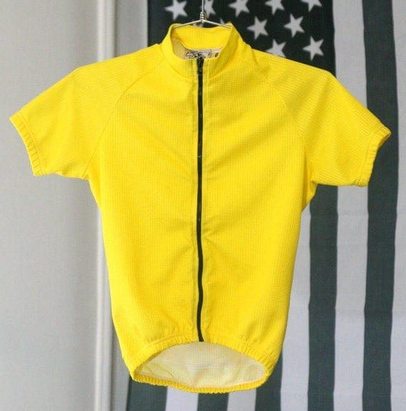Stretchy Yellow and Black Zip-Up Waffle-Textured 90s Shirt