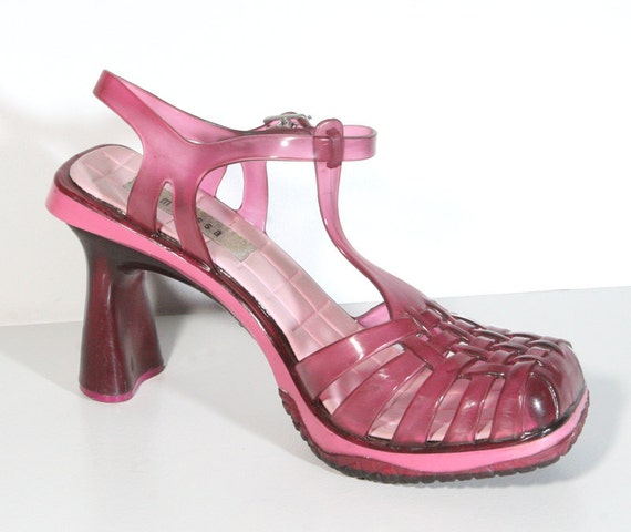 Clear Pink 90s High Heel Jelly Shoes - US Size 6