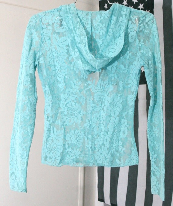 Stretchy Light Turquoise Sheer Lace Hoodie