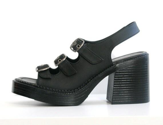 Chunky 90s Black Strappy Buckles Platform Slingback Sandals - US Size 7.5