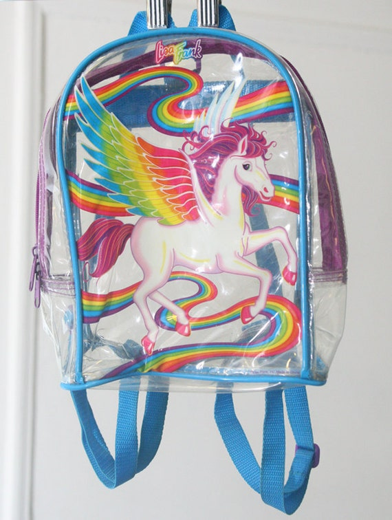 90s Clear Lisa Frank Mini Backpack With Rainbow And Unicorn