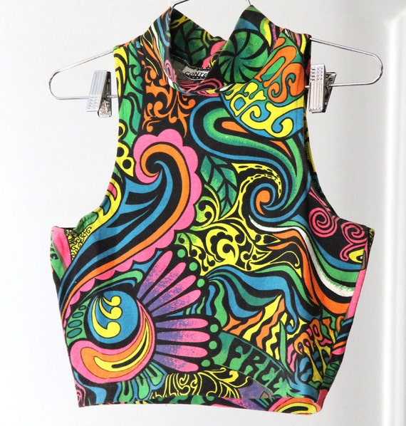 Neon and Black Psychedelic Print 90s Super-Cropped Top