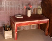 Dollhouse miniature ooak handmade shabby chic styled red table one inch scale