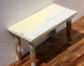 OOAK Shabby Chic Styled Dollhouse Miniature Table One inch scale yellow green and white