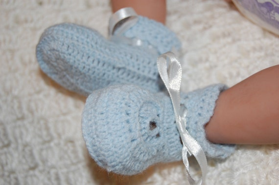 Blue Knit Baby Booties