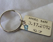 Personalized keychain. Handstamped with a name, date or short message.