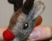 Rudolph the Red-Nosed Reindeer Needle Felted Brooch